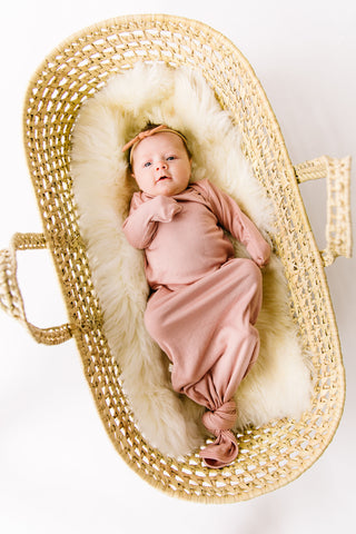 ribbed knotted sleeper in 'clay pink' modal