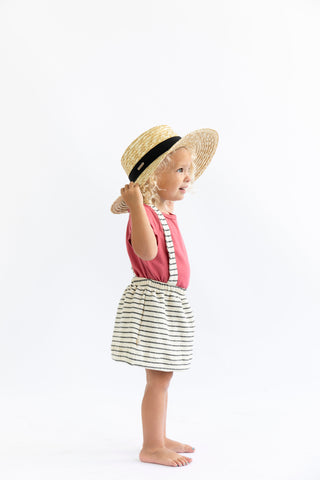 suspender skirt in 'natural stripe'