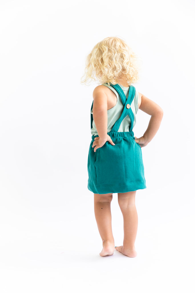 suspender skirt in 'deep teal'