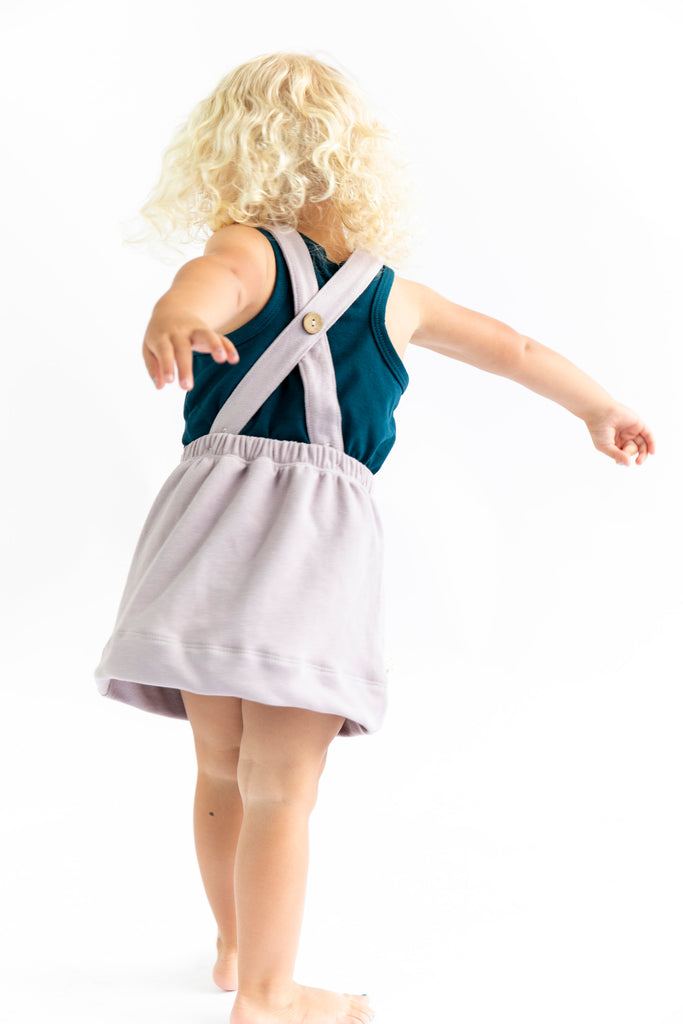 suspender skirt in 'lavender gray'