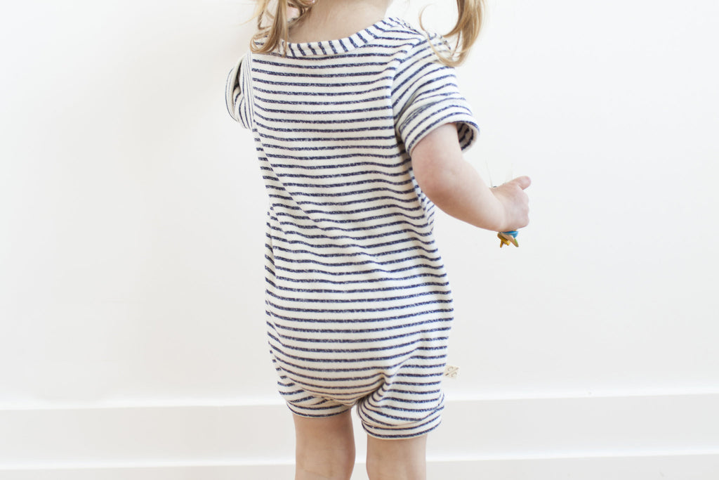 Rolled Sleeve Romper in 'narrow navy stripe'