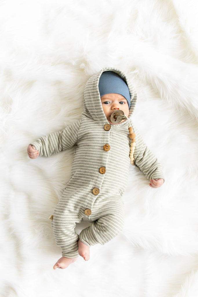 hooded romper in 'medium gray stripe'