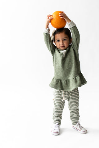 peplum crew in 'heather olive'