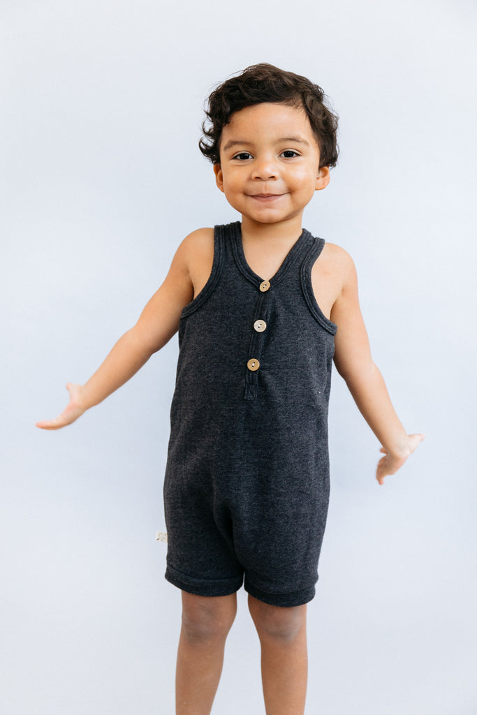 short tank romper - heather black [please read sizing note]