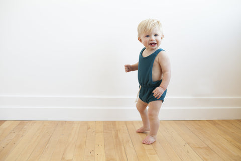 romper shortie in 'peacock'