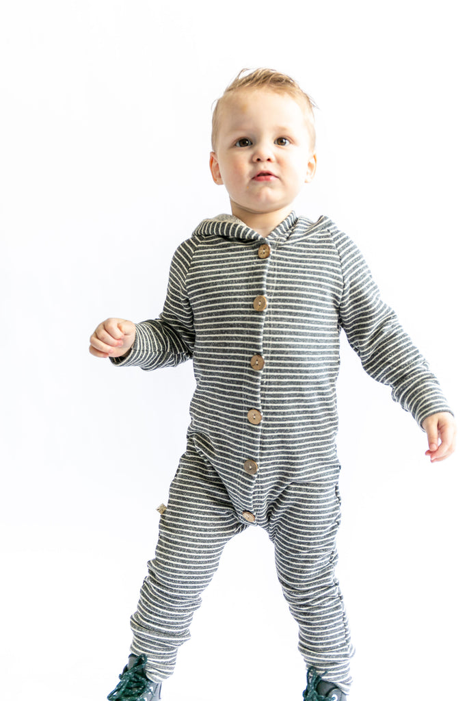 hooded romper in 'coal stripe'
