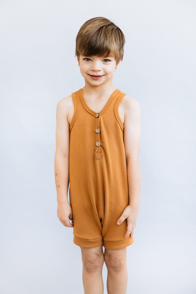 short tank romper in 'toffee'