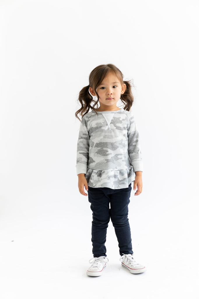 Peplum crew - arctic camo [please read sizing note]