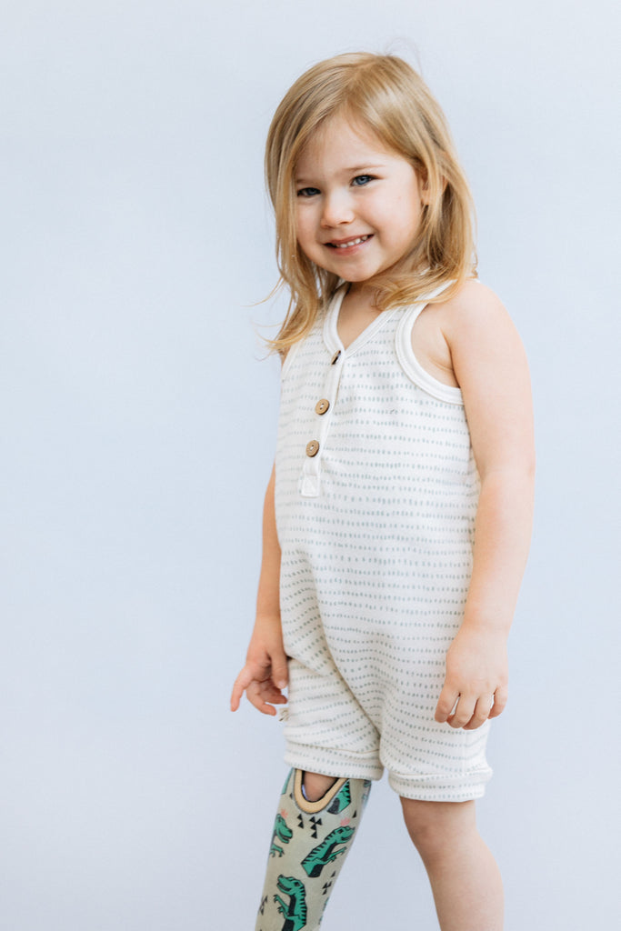 short tank romper in 'aqua dash dot'
