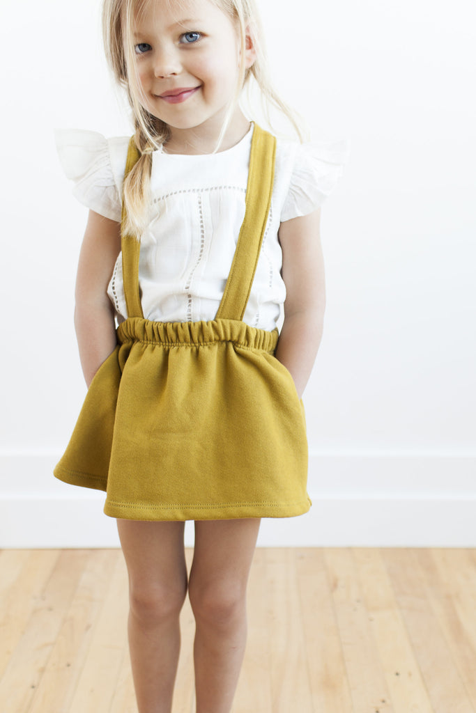 suspender skirt in 'chartreuse'