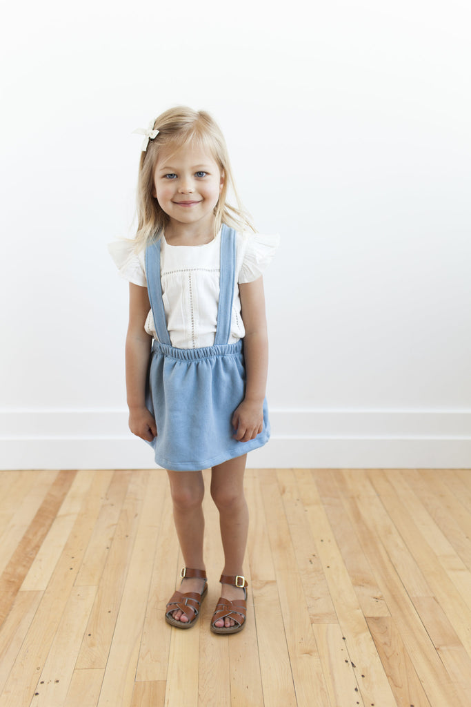 suspender skirt in 'carolina blue'