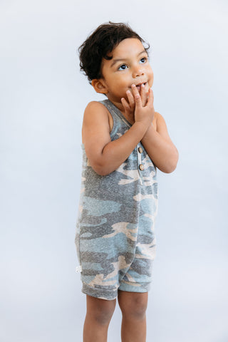 short tank romper in 'faded camo' [please read sizing note]