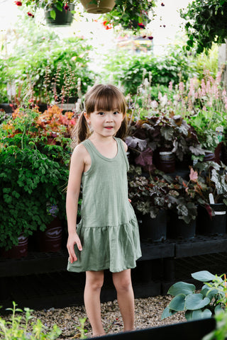 twirly tank dress in 'basil'