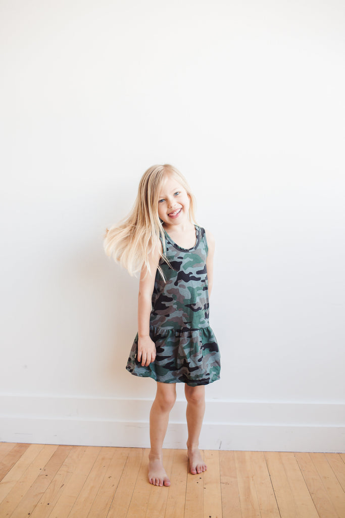 twirly tank dress in 'camo'
