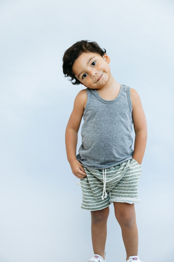 boy shorts - heather olive stripe