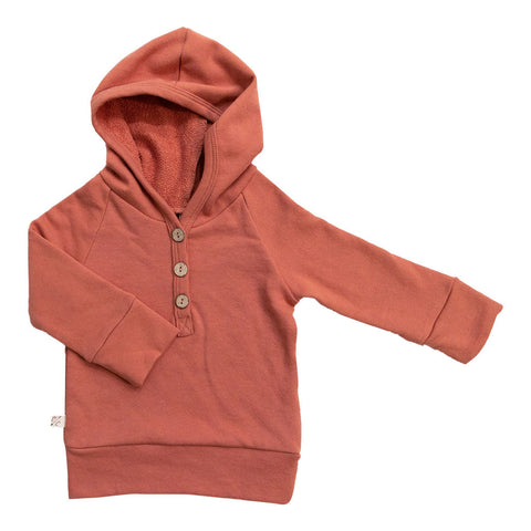 henley hoodie in 'faded red'