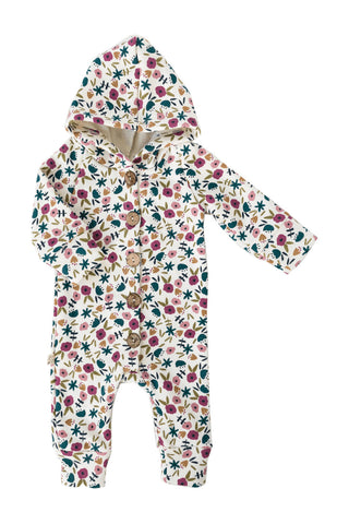 hooded romper - fall ditsy floral