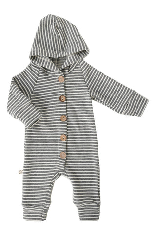 hooded romper in 'heather gray inverse'
