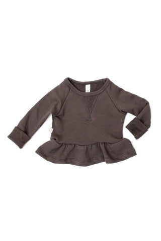 Peplum crew in 'faded black'