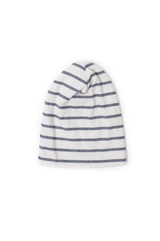 slouch beanie in 'navy stripe' rib