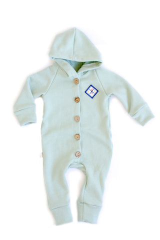 Hooded Romper in 'sea glass'