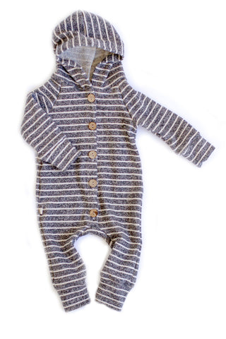Hooded Romper in 'ash stripe'
