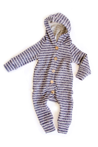 Hooded Romper in 'navy stripe'