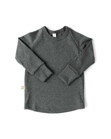 rib knit long sleeve tee - iron gray