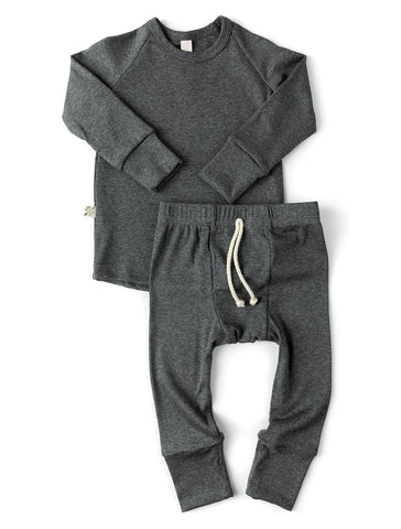 rib knit pant - iron gray