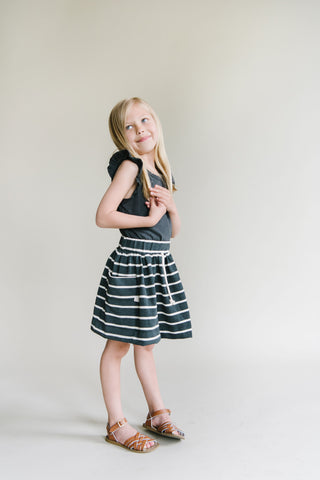 jersey skirt in 'obsidian stripe'