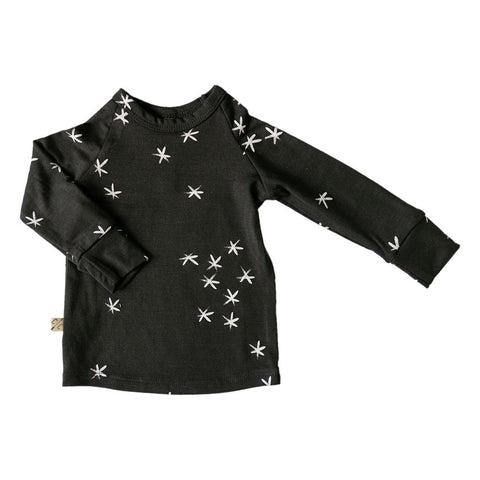 rib knit long sleeve tee - stars on midnight