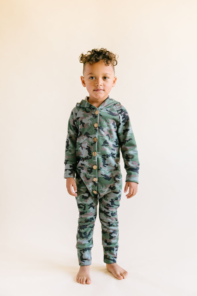 hooded romper in 'micro camo'