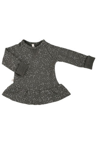 peplum crew in 'constellations' on faded black