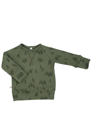 pullover crew in 'trees' on olive
