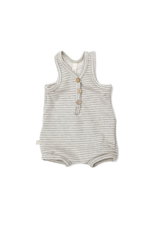 short tank romper - medium gray stripe