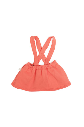suspender skirt in 'coral'