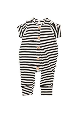 Long Rolled Sleeve Romper in 'black stripe'