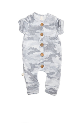Long Rolled Sleeve Romper in 'arctic camo' [please read sizing note]