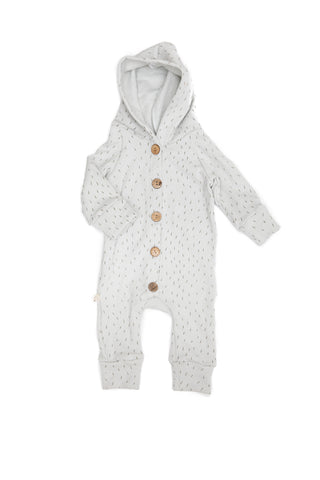 hooded romper in 'sprinkle on gray'