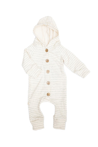 hooded romper in 'aqua dash dot'