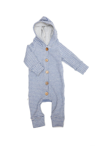 hooded romper in 'chambray stripe'