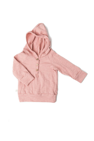 jersey henley hoodie in 'clay pink'