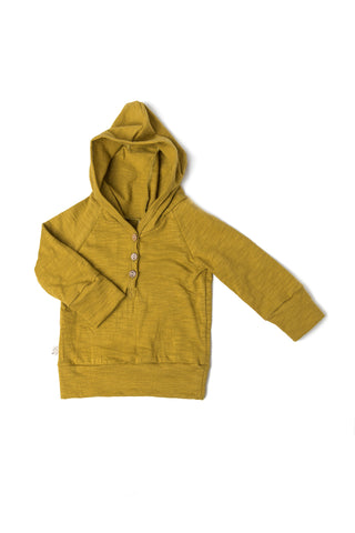 jersey henley hoodie - chartreuse