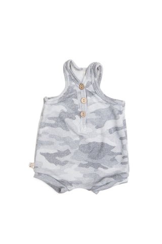 Short tank romper in 'arctic camo' [please read sizing note]
