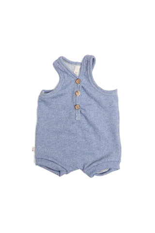 short tank romper in 'chambray solid'