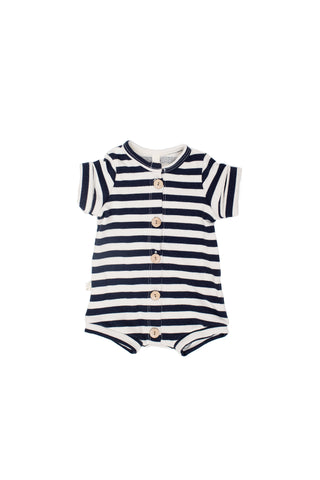 Rolled Sleeve Romper in 'navy and cream stripe'