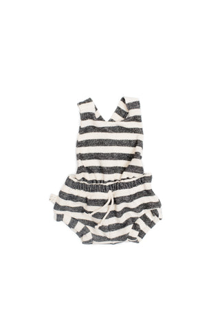 romper shortie in 'black and cream stripe'