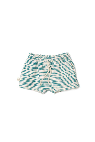 boy shorts - deep teal painted stripe