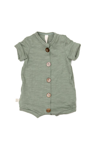 jersey rolled sleeve romper in 'sage'