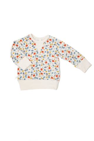 jersey pullover crew in 'ditsy floral'
